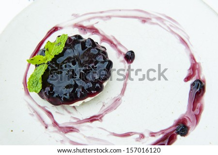 Plates with berry cheesecake