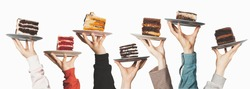 Plates with seven different sweet desserts, hands holding plates on top. Tasting, dessert selection, gastronomy, concept for menu or advertising