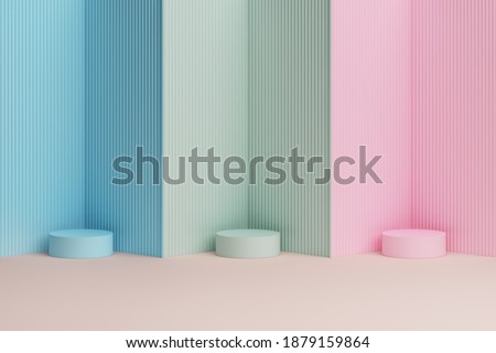 platform and podium soft pink green blue pastel stand product minimal style display advertisement cute sweet background baby concept. Place fashion and cosmetic or beauty products. 3D Illustration.