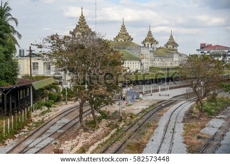 Platform and trains at Yangon Central Railway Station, one of building landmarks in downtown of Yangon city stock photo