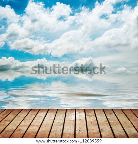 platform beside sea - stock photo