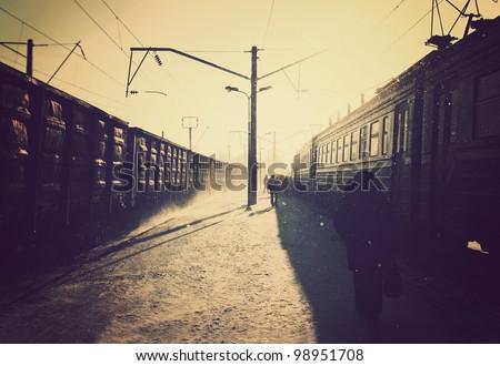 platform of the train station, passengers, blizzard, winter #98951708