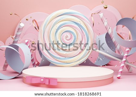 platform pink bow ribbon style deco pastel ripple stand product commercial display advertisement cute candy circle background baby concept lollipop confetti celebrate birthday theme. 3D Illustration.