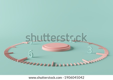 platform pink time clock tick indefinite continued progress existence event occur present at the moment stand display concept advertisement commercial past present future sequence. 3D Illustration.