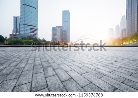Platform space and modern skyline and architecture #1159376788