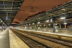Platforms of the Paris-Est station at night - France