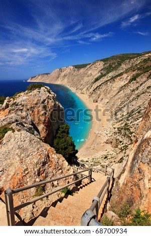 Platia Ammos beach in Kefalonia - stock photo