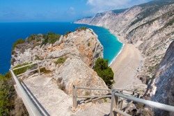 Platia Ammos, secluded beach in Lixouri, Kefalonia, Greece. The staircase leading to the beach