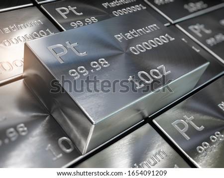 Platinum bars or ingots background. Precious metals. 3d illustration Сток-фото ©