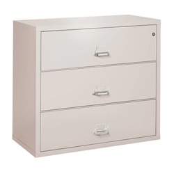 Platinum 3-Drawer Lateral File Cabinet Isolated on White. Side View Wooden Three Doors Bedroom Chest Drawer. Wood Dresser Mirror. Modern Bureau & Cabinet. Chest of Drawer Table. Bedroom Furniture