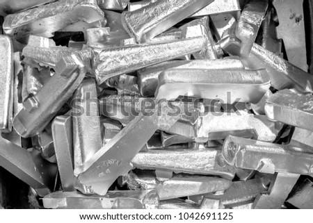 Platinum ingots background. Metal texture. Silver backgroun. Stainless steel, aluminium, white gold. #1042691125