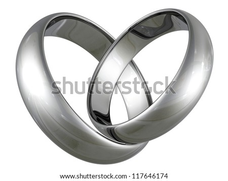 Platinum or silver wedding rings in heart shape on white background