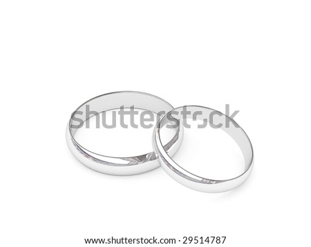 Platinum or silver wedding rings on white background. High resolution 3D image.