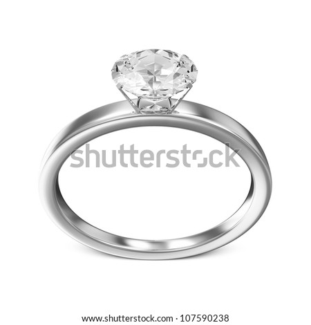 Platinum Wedding Ring with Diamond isolated on white background