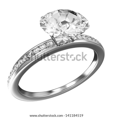 Platinum Wedding Ring with Diamonds isolated on white background