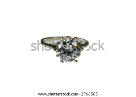 Platinum White Gold Diamond Wedding Engagement Ring With Band Isolated on White Background With No Shadow