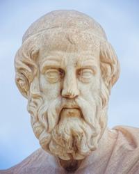 Plato portrait sculpture, the ancient Greek philosopher, Athens Greece