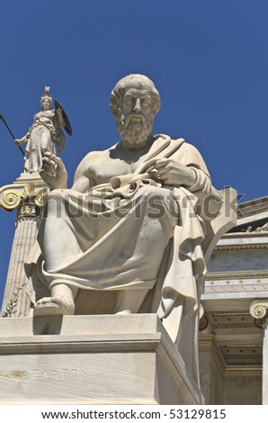 Plato statue at the Academy of Athens building in Athens, Greece