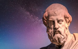 Plato the ancient Greek philosopher and thinker under starry night sky, space for your text