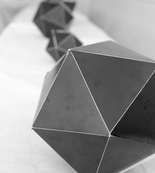 platonic solids on white surface black and white