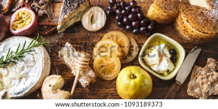 Platter of cheese and fruit pairings food photography recipe idea #1093189373