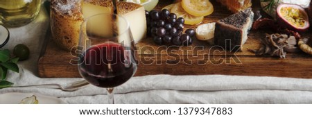 Platter of cheese with seasonal fruits and wine #1379347883