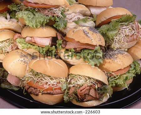 Platter of party sandwiches.