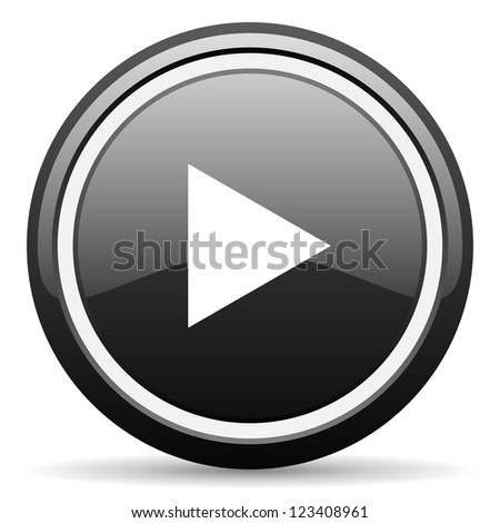 play black glossy icon on white background