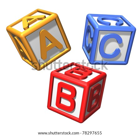 Play blocks with alphabet representing the concept of preschool education and classroom toy isolated on white featuring three cubes with the letters a b and c.