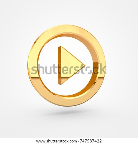 Play button. 3d render of golden button isolated on white background.