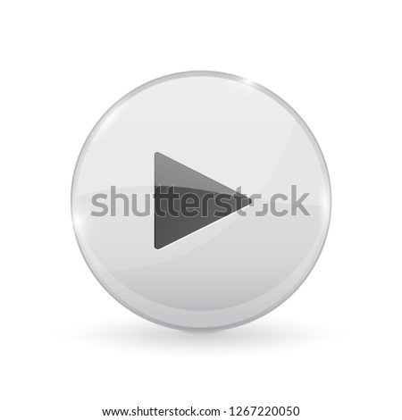 Play button. Glass shiny 3d icon. Illustration isolated on white background. Raster version #1267220050
