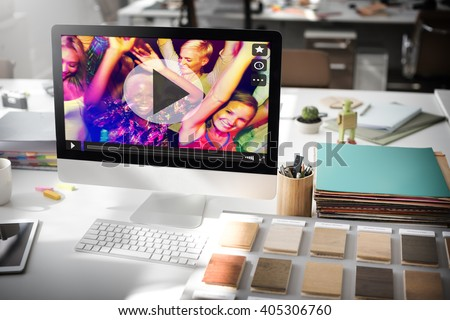 Play Button Icon Music Video Audio Concept Сток-фото ©