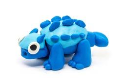 Play dough Ankylosaurus on white background. Handmade clay plasticine