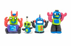 Play dough group robot on white background. Handmade clay plasticine