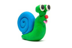 Play dough Snail on white background. Handmade clay plasticine
