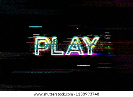 PLAY. Glitch art typography. Abstract digital high resolution background.