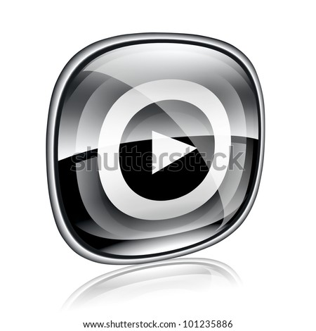 Play icon button black glass, isolated on white background.