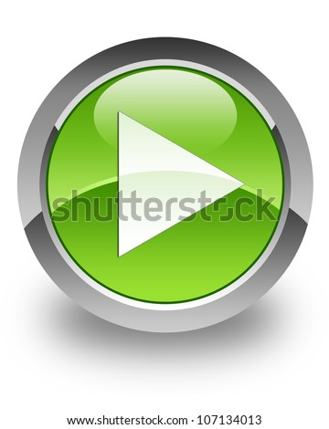 Play icon on glossy green round button