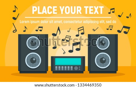 Play music stereo system concept banner. Flat illustration of play music stereo system concept banner for web design
