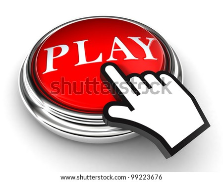 play red button and cursor hand on white background. clipping paths included