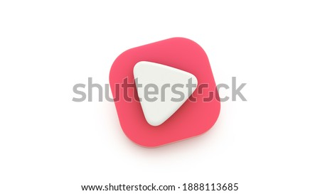 Play red icon shape symbol. 3D-rendering. Play interface symbol isolated on white background