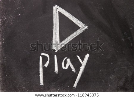 play sign drawn with chalk on blackboard - stock photo