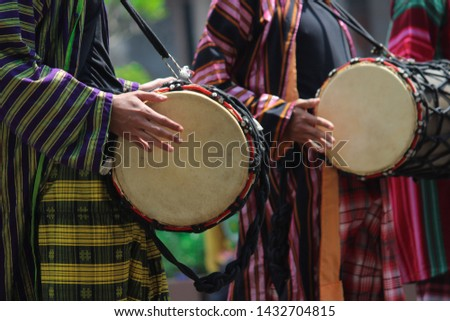 Play traditional drum instruments from Central Java, Indonesia #1432704815