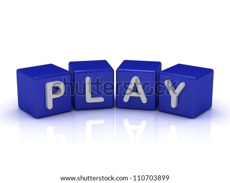 PLAY word on blue cubes on an isolated white background