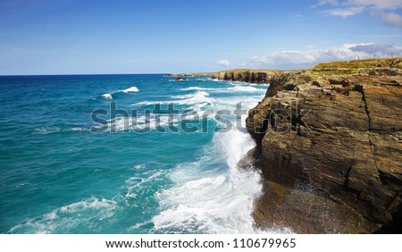 Playa de las Catedrales detail - stock photo