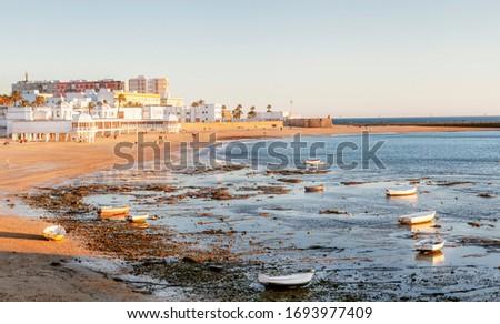 Playa de Santa María del Mar o Playita de las Mujeres en Cádiz capital Stok fotoğraf ©
