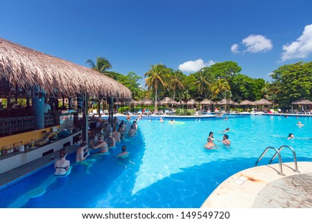 PLAYA DEL CARMEN, MEXICO - JULY 14: Scenery of luxury swimming pool at RIU Tequila Hotel  in Playa del Carmen on July 14, 2011. RIU Hotels & Resorts has more than 100 hotels in 19 countries.