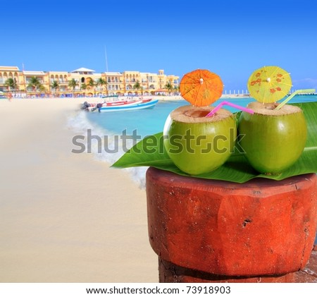 playa del Carmen mexico Mayan Riviera beach coconut cocktail straw [Photo Illustration]