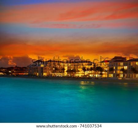 Shutterstock Playa del Carmen sunset Beach in Riviera Maya at Mayan Mexico