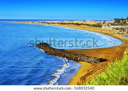 Playa del Ingles beach and Maspalomas Dunes Gran Canaria Canary Islands Spain